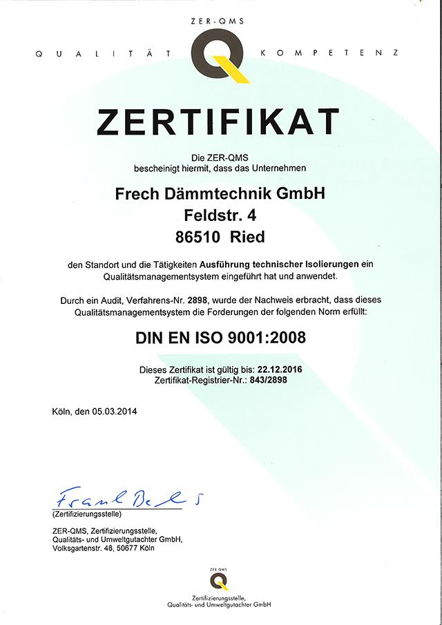 Zertifizierungen - Frech Dämmtechnik